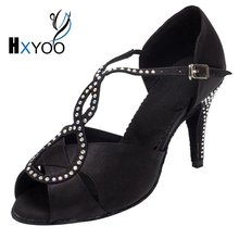 HXYOO Customized Rhinestone High/Low Heel Salsa Dancing Shoes Woman Ballroom Shoes For Girls Latin Dance Sandals Satin WK020