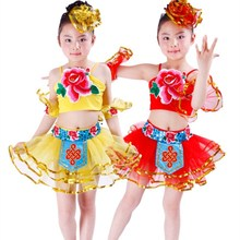 Free Shipping Red Yellow Peony Folk Dancing Clothes for Kids Girls Children Stage Performance Ballroom Belly Dance Dress Costume