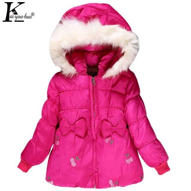 2017 Inverno Nova Jaqueta Meninas Crianças Vestuário de Moda Bebê Menina Roupas Jaquetas Casacos de Bebê Com Capuz Casuais Outerwear Crianças Traje