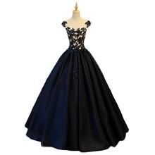ANGELSBRIDEP черные пышные платья атласное платье для бала-маскарада Женские официальные платья для дебютантов Vestidos De 15 Anos
