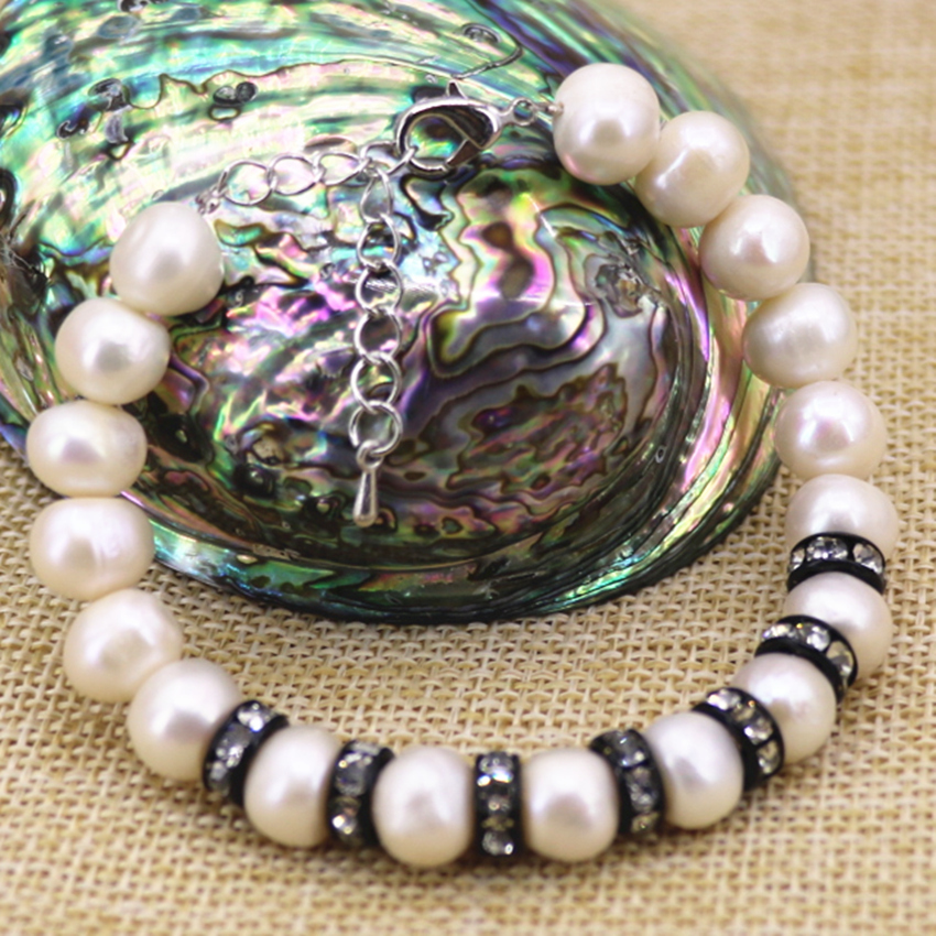 Natural white pearl beads 9-10mm beaded bracelet & bangle for women gifts black crystal spacer unique diy jewelry 7.5inch B3093