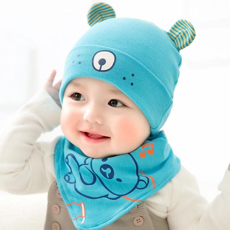 2018 Spring Cartoon Bear Infant Baby Beanies Hat Bib Set 2pcs Baby Biys Girls Bear Hat with Ear Bibs Cute Infant Sun Hat