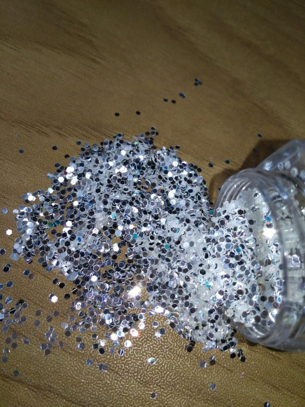 Venda quente Caixa 1 10 ml Sparkly Prata Pura Cor UV Folha Toe Nail Art Decorações Glitter Pó Poeira Que Bling folha Da Arte Do Prego