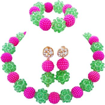 Hot Sale Light Green Fuchsia Pink Indian Handmade Jewellery Sets Gift for Girlfriend 1C-SJZZ-13