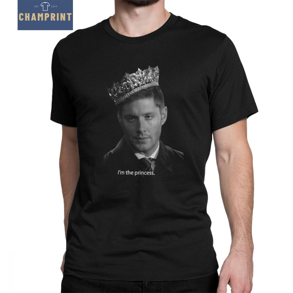 Supernatural T-Shirt Spn Brothers Men T Shirt Dean Winchester Is The Princess Vintage Short Sleeve Tee Shirt Clothes Pure Cotton
