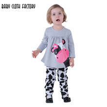 Vendita al dettaglio di autunno delle ragazze vestiti del bambino Little  Cow modellazione vestiti di cotone casuale a maniche lu. db5e401a5d3