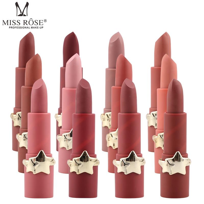 Губная помада Miss Rose для макияжа телесного цвета, 3,5 г, водостойкая, долговечная, 12 популярных цветов, розовая, персиковая, тыква, матовая пома...