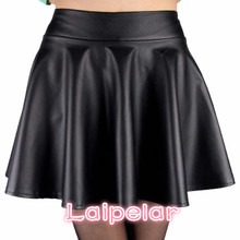 new high waist faux leather skater flare skirt casual mini skirt above knee solid color Wine red black skirt S/M/L stylish women s high waisted buttons embellished flare skirt