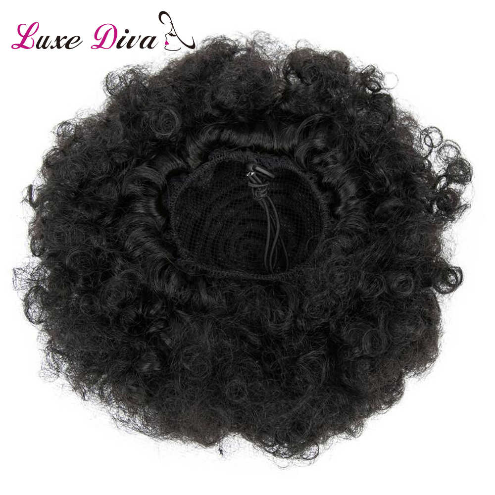 LD Afro Kinky Curly Ponytail For Women Natural Black Remy Hair 1 Piece Clip In Ponytails Drawstring 100% Human Hair Products