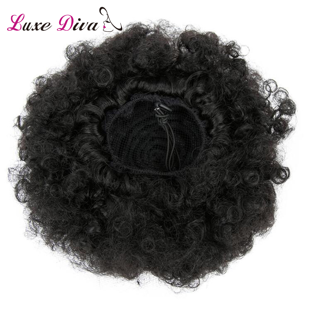 LD Afro Kinky Curly Ponytail For Women Natural Black Remy Hair 1 Piece Clip In Ponytails Drawstring 100% Human Hair Products image