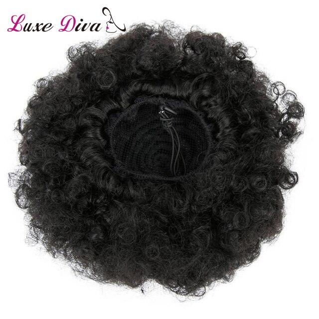 LD Afro rizado Cola de Caballo para mujeres Natural negro Remy cabello 1 pieza Clip en cola de caballo cordón 100% cabello humano productos
