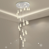 Modern Simple Lead Lamp Acrylic Bubble Ball Stair Long Hanging Lamp Creative Spiral Villa Stair Hanging Lamp