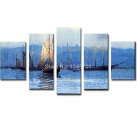 Hand Painted Abstract Five pieces Combination Sailboat Seascape Oil Painting Landscape Wall PicturesLiving Room Home Wall Decor