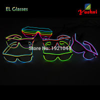 Customized Double Color Sound Activated EL Wire Led SunGlasses Party Lighting Glowing Classic Toys With DJ