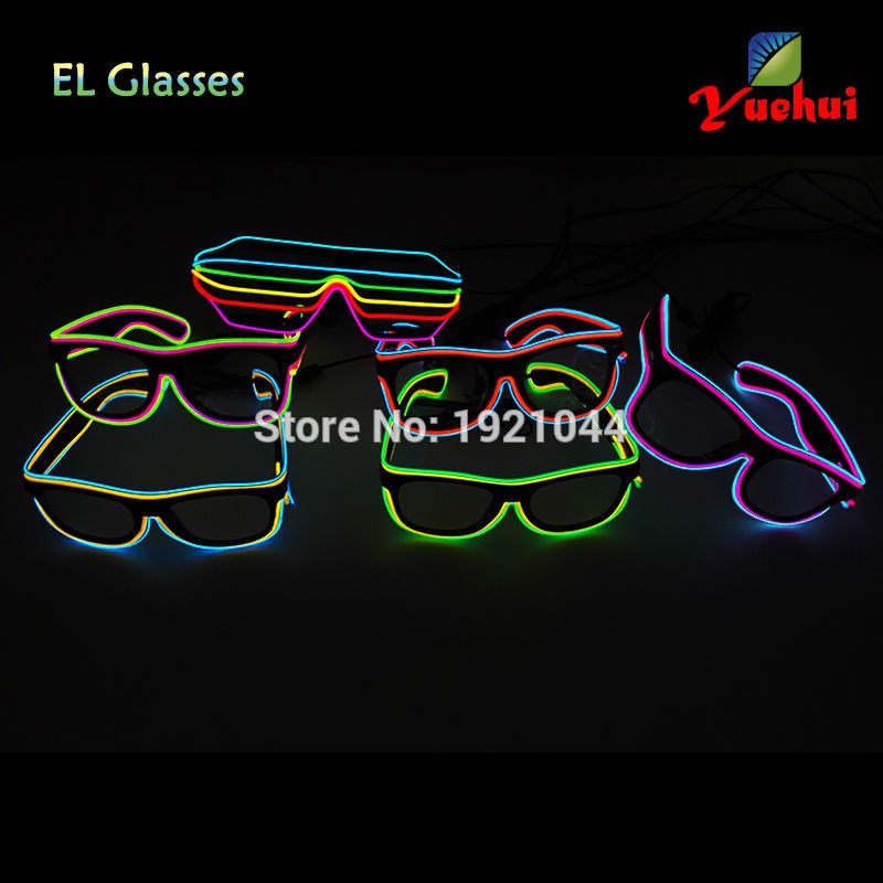 2017 Customized double color Sound Activated EL wire LED SUNGlasses Carnival Lighting Glowing Gifts For House Party Decoration
