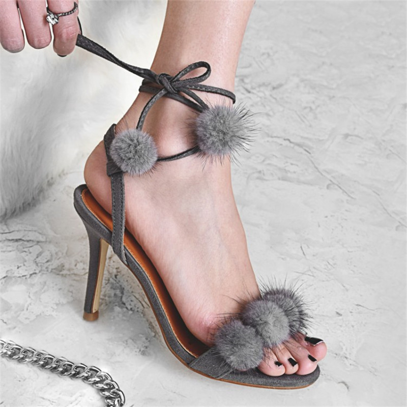ФОТО Open-toe Hair Ball High Heels Sandals Fashion One-banded Ankle Strappy Stilettos Female Sexy Rome Pumps Sandalias De Tacon Alto