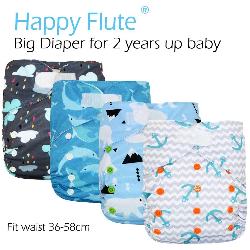 HappyFlute 2 Grande XL Bolso Fralda para o Bebê Anos e Mais Velhos, interior suedecloth, stay-seca, tamanho encaixa cintura ajustável 36-58 cm