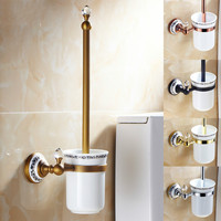 European Antique Gold Toilet Brush Holder Crystal Porcelain Toilet Brush Rack Bathroom Accessories Set