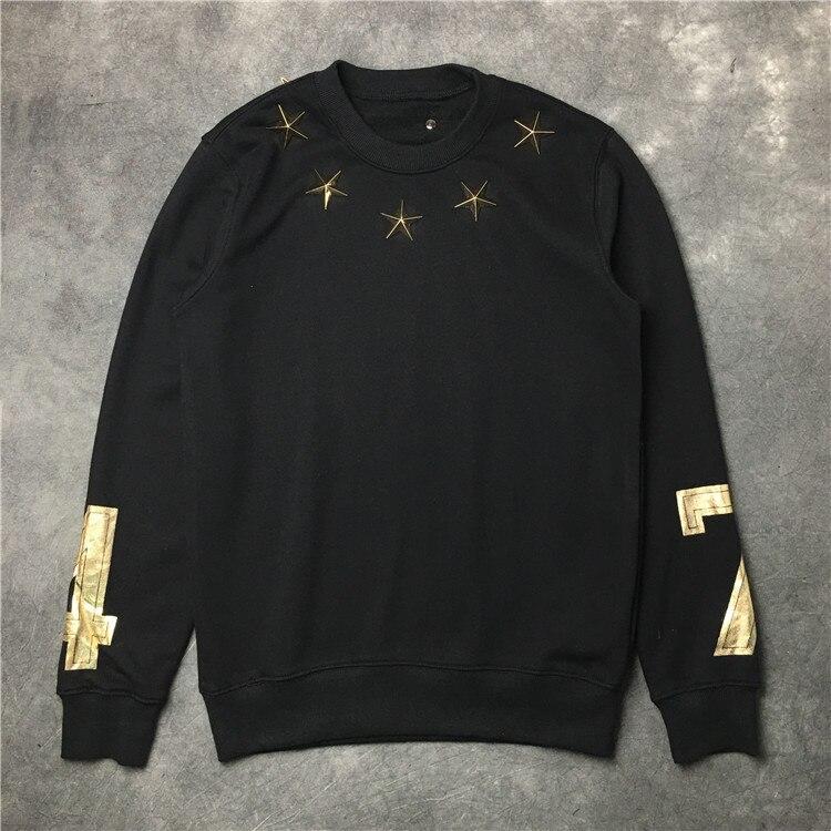 Nouveau hommes 7 4 metal stars sweats à capuche sweats à capuche velours coton Drake épais polaire Street Hip hop # E155 - 1