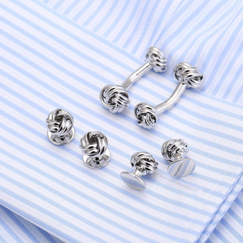 Drop Ship New Arrival Silver Knot Cufflinks Collar Stud Set Top Quality 6pcs set tuxedo Gemelos Cufflings links 190