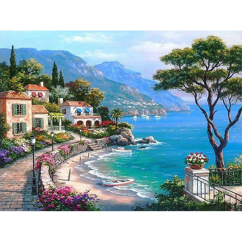 Frameless The Mediterranean Sea Seaside DIY Digital Maleri Med Tall Wall Art Dekor Håndmalt For Home Decor 40x50cm