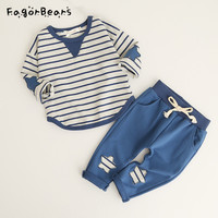 FagorBears 2017 New Children S Cartoon Stripes Suit Spring And Autumn New Cotton Sweater Sets Baby