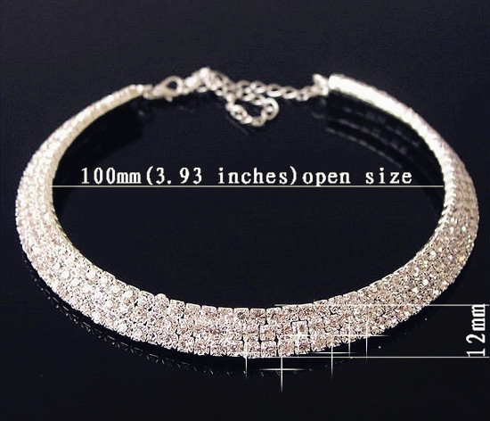 Deal≡Fashion jewelry rhinestone necklace 3Row crystal statement necklace chain Crystal Necklace