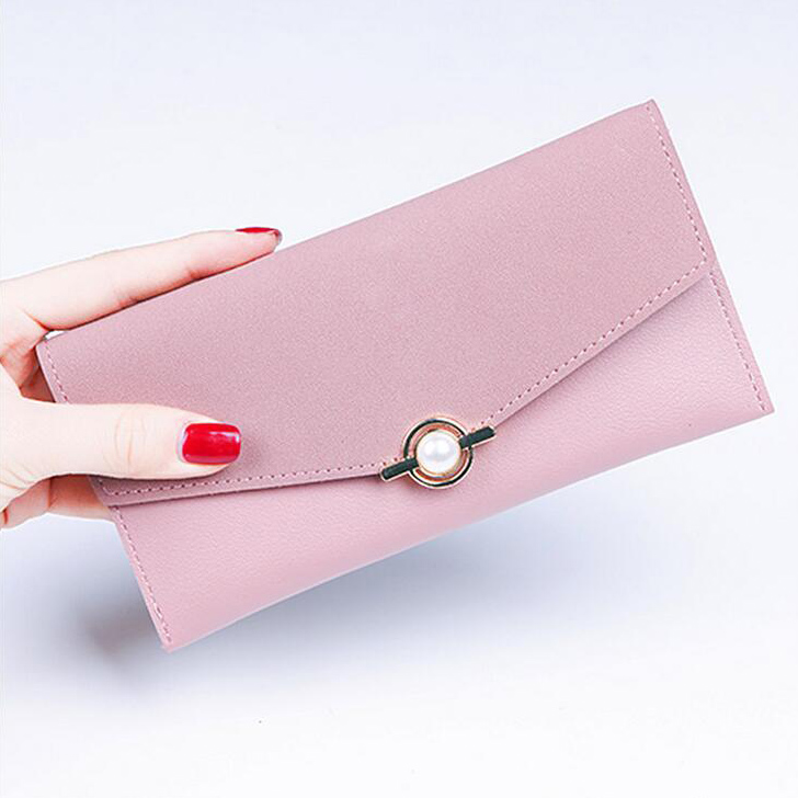 Women Pearl Wallets Lady Zipper Coin Purse Cards Holder Clutch Envelope Moneybags Female Wristlet Purses Pocket Long Wallet Bags cossroll brand women wallets genuine leather long thin purse clutches bags cards holder zipper phone pocket lady party wallet