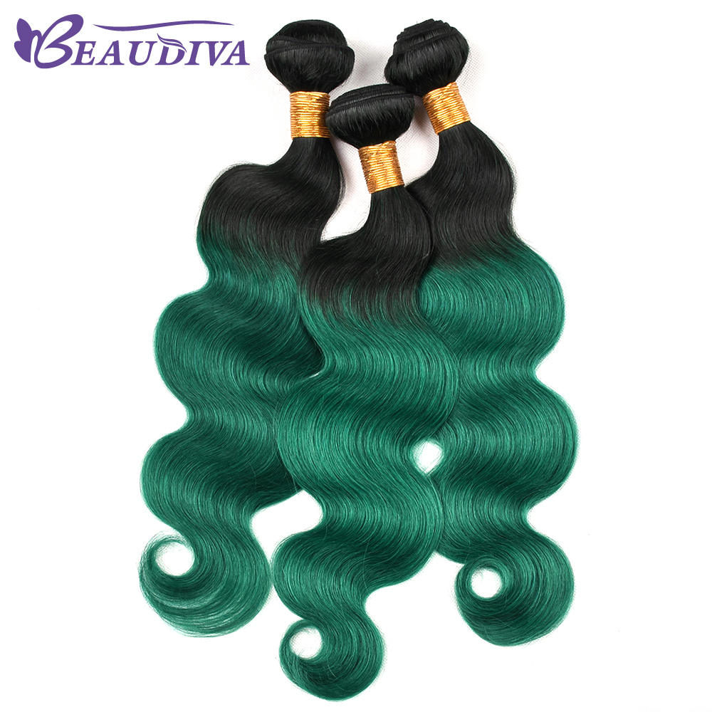 Beaudiva Hair Brazilian Body Wave Hair 3 Bundles Human Hair Extention Remy Hair TB Olive Green Color 10-24 inch Free Shipping ...
