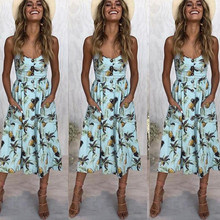 Summer Dress For Women Vintage Sexy Blue 2019 Spaghettis Strap Sundress Stripe pineapple Print Female Midi