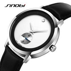 SINOBI Luxury Soft Leather Watches Men Independent Second Hand Fashion Men's Boutique Simple Style Quartz-watch Male Wristwatch
