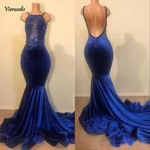 2019 Royal Blue Spaghetti Straps Long Prom Dresses Mermaid Lace Applique Bead Backless Plus Size Evening Gowns Party
