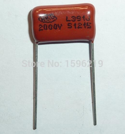 10pcs CBB Capacitor 391 2000V 391J 2KV 390pF 0.39nF P15 CBB81 Metallized Polypropylene Film Capacitor