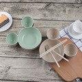 3 peças/set bebê jantar bambook jantar & conjunto de talheres com placa dos desenhos animados, garfo, colher e chopstics conjunto de alimentação comida para bebé