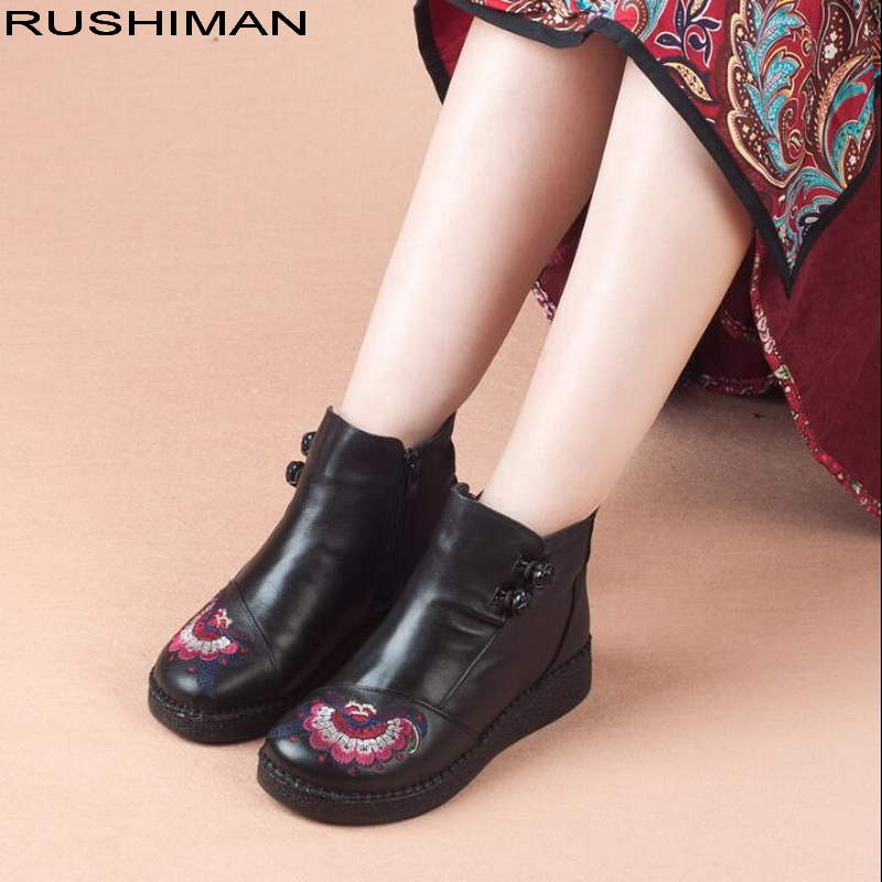 RUSHIMAN Winter Boots Women Genuine Leather Ankle Boots Plush Inside Handmade embroidery soft Flat shoes Casual BootsRUSHIMAN Winter Boots Women Genuine Leather Ankle Boots Plush Inside Handmade embroidery soft Flat shoes Casual Boots