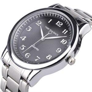 Image 1 - Quartz saat erkekler çelik su geçirmez saat yönünün tersine ters ölçekli yağ kabartma arama bilezik izle moda erkekler İzle erkek saat