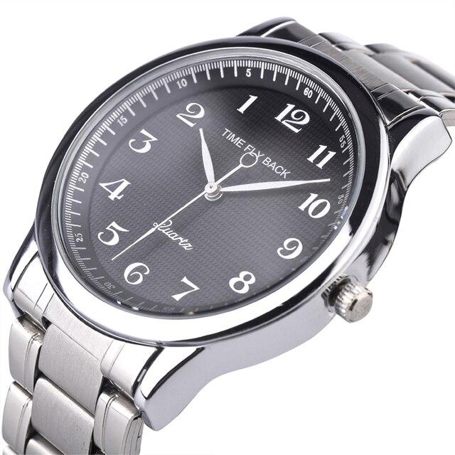 Quartz saat erkekler çelik su geçirmez saat yönünün tersine ters ölçekli yağ kabartma arama bilezik izle moda erkekler İzle erkek saat