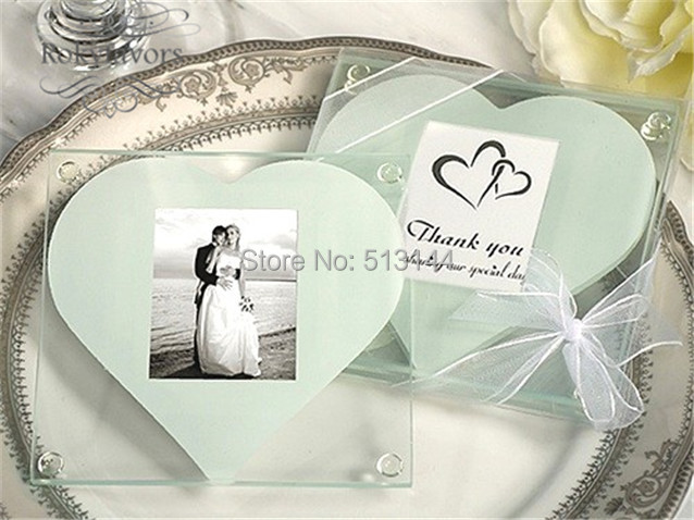 Free Shipping 50sets Lot 2pcs Set Heart Photo Glass Coaster