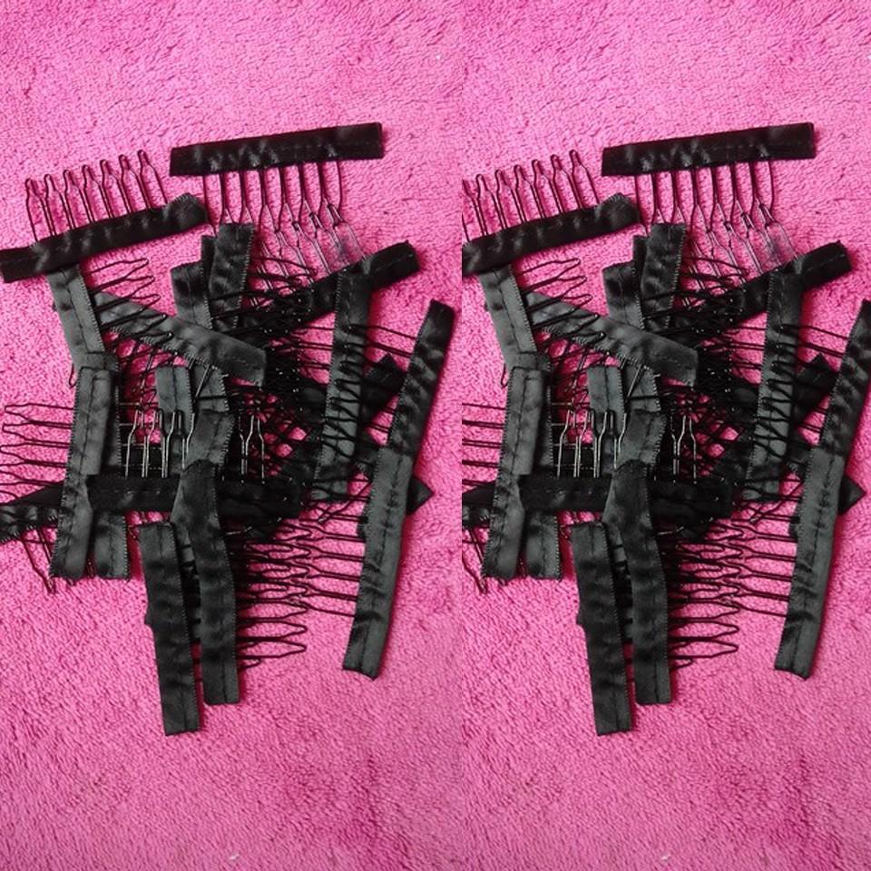 20 шт./бесплатная доставка лот 6 зубов парик аксессуары оптовая продажа черные волосы комбс приложить парик шапки парик расчески вставить парик клипы