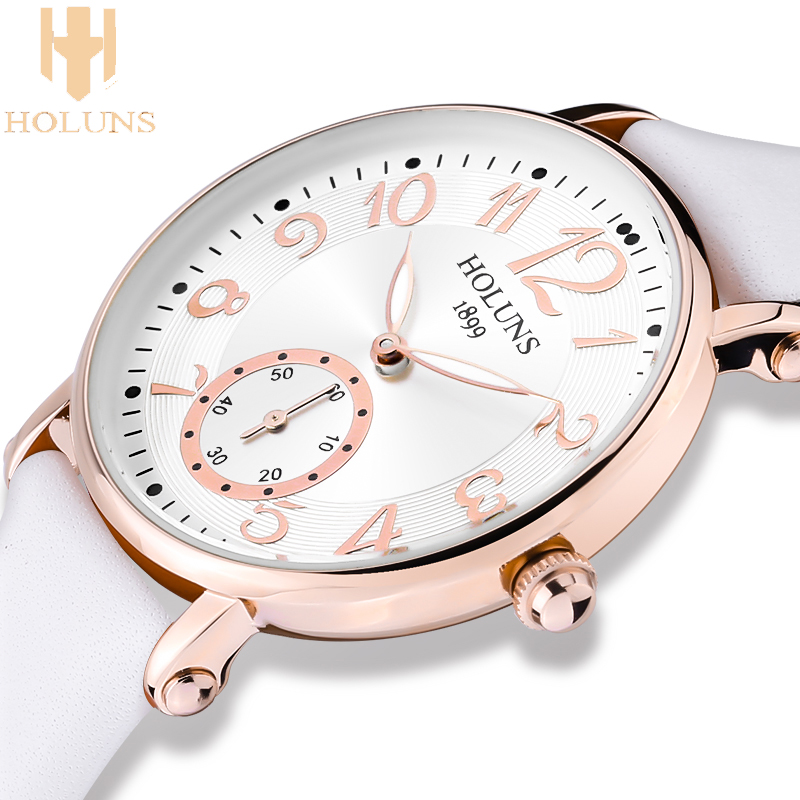 quartz women watch Stainless Steel Leather strap special love gift for girl lady 2017 relogio Holuns nurse watch Luxury Package