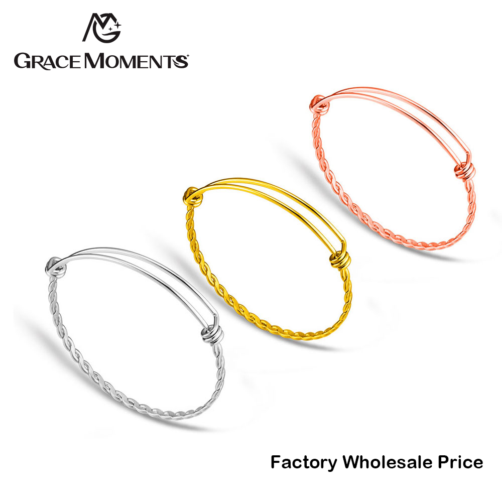 10pcs/lot Grace Moments 3 Colors Twist Bangles & Bracelets 316L Stainless Steel Adjustable Wire Cuff Bracelet Making DIY Jewelry ...