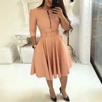 Frauen 2019 Trendy Fashion Elegante A-linie Tunika Party Midi Kleider Damen Arbeitskleidung Solide Zipper Up Gürtel Plissee Casual Dress