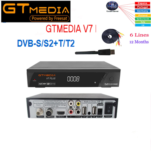 GTMEDIA V7 PlUS 1080P Full HD DVB S S2 T T2 Support H 265 4 digit