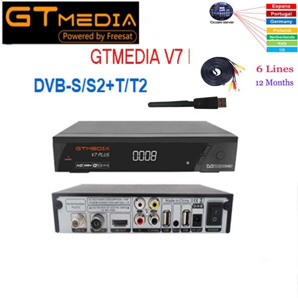 GTMEDIA V7 PlUS 1080 P Full HD DVB-S/S2 + T/T2 prend en charge H.265 4 affichage nombres LED prise en charge de la clé PowerVu DRE & Biss USB Wifi