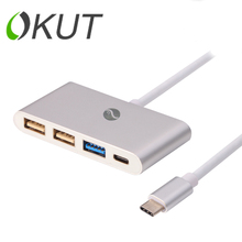 "FLY-TIMES UBS 3.1 Tipo C para 2 USB 2.0 + CABLE USB 3.0 USB-C Puerto HUB OTG Cable Adaptador de carga para el Nuevo MacBook 12 ""google chromebook"