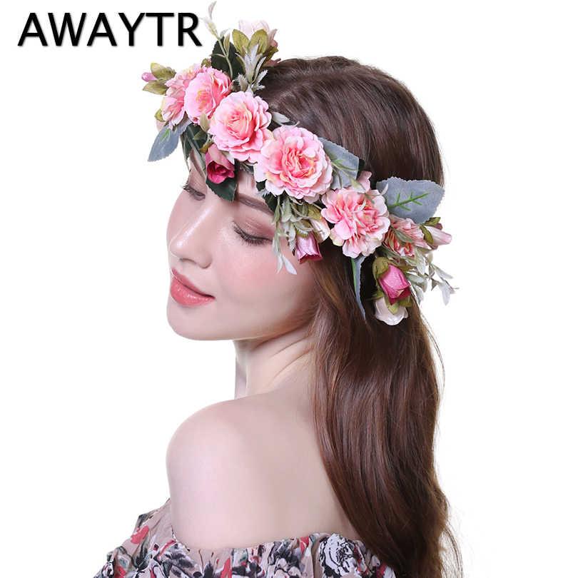 b9528eaf681 AWAYTR Bezel Wreath Flower Headband Wedding Crown for Women Girls Tiaras  Spring Headwear Photograph Hair Accessories