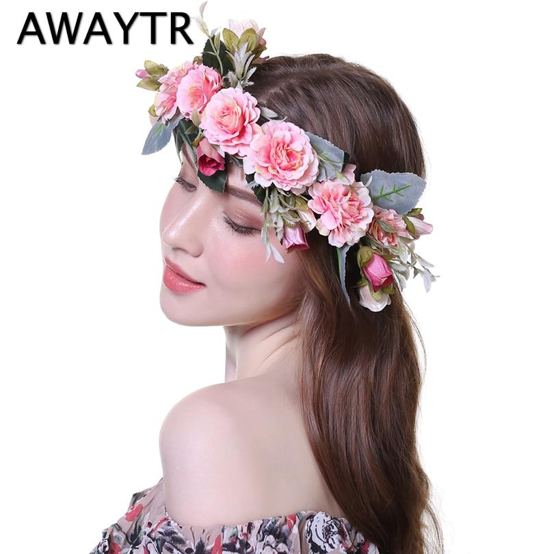 AWAYTR Bezel Wreath Flower Headband Wedding Crown for Women Girls Tiaras Spring Headwear Photograph Hair Accessories-in Hair Accessories from Women's Clothing & Accessories on Aliexpress.com   Alibaba Group