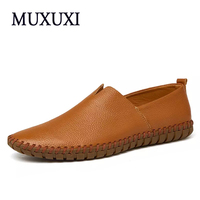 New Arrival Genuine Leather Comfortable Casual Shoes Men Comfortable Loafers Shoes Men Soft Breathable Flats Driving