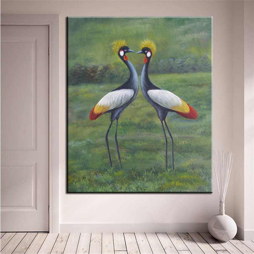 dp artisan no frame red crowned crane animal arts printed oil painting on canvas wall painting for home decor wall picture