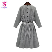 Yomsong 2016 New Arrival Spr Summer And Autumn New Type Of Lattice Cotton College Style Dress Female 906